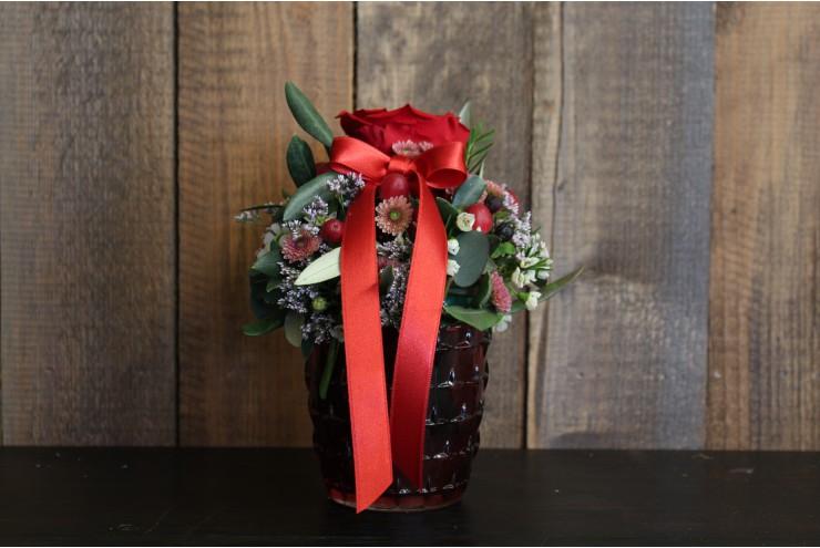 Gesteck Stabilisierte Rose Rot